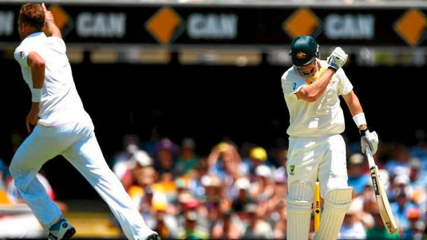 Shane Watson looks dejected after being dismissed by Broad in the final over before lunch.