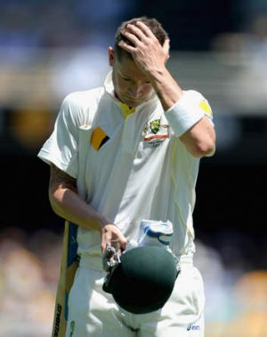 Michael Clarke leaves the field after being dismissed by Stuart Broad for 1.