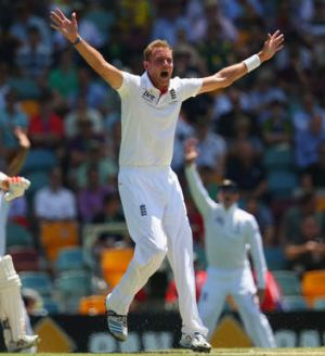 'Stuart Broad sprinted, and vaulted, and high-fived, and all but clicked his his heels'.