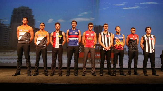 Nine of the top 10 - missing was North Melbourne father-son selection Luke McDonald. They are (left to right) Tom Boyd, ...