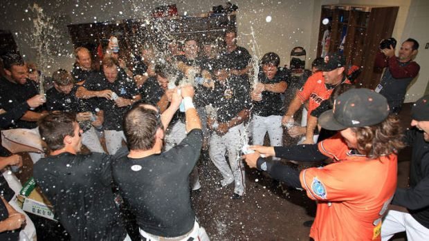 Party time back in the clubhouse.