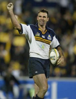 Brumbies great Joe Roff after scoring a try in the Super Rugby final win against the Crusaders.