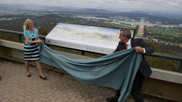 The Chief Minister Katy Gallagher and Dr David Headon at the renaming of the Mt Ainslie viewing platform to Marion ...