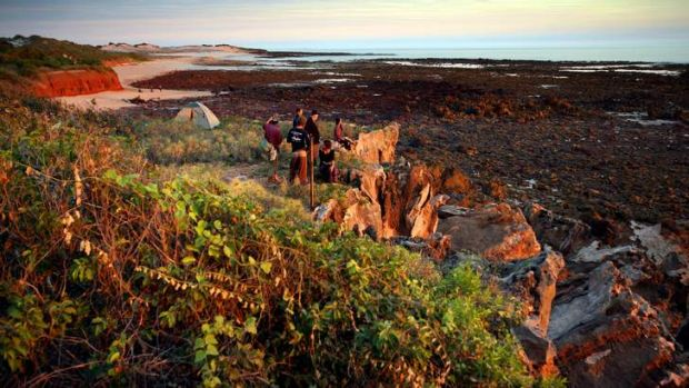 Walkers on  the Lurujarri Heritage Trail on the Dampier Peninsular north of Broome, where activities include making clap ...