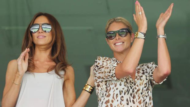 Great partnerships: Candice Falzon (right) with Kyly Clarke at the Gabba on Saturday.
