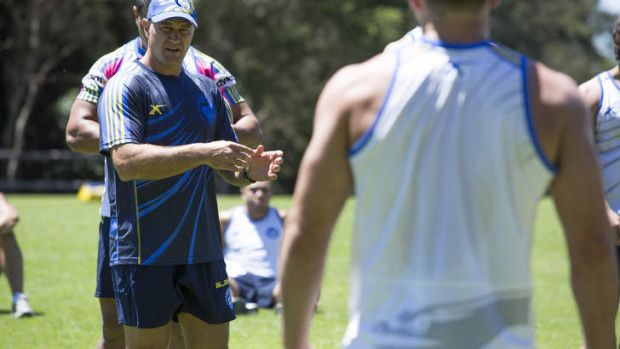 Brad Arthur at training with his Eels charges.