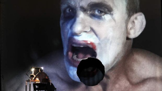 Jud Arthur as Fafner, guardian of the ring, putting on his make-up in Opera Australia's <Siegfried</i>.