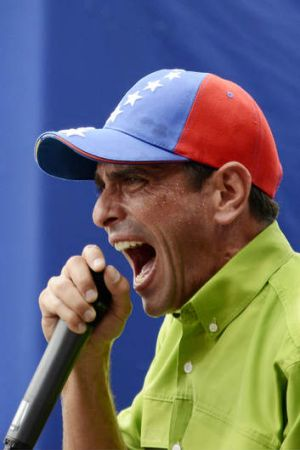 Midterm elections in sight: Henrique Capriles speaks during a mass protest in Caracas.