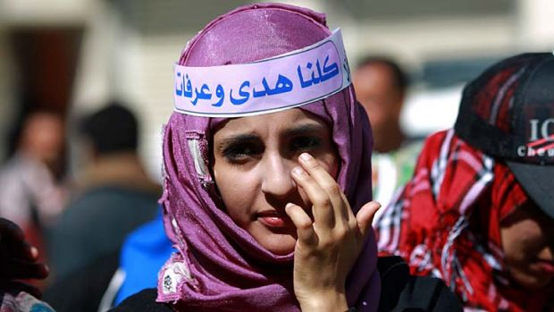 A Yemeni woman takes part in a gathering in support for Huda al-Niran.