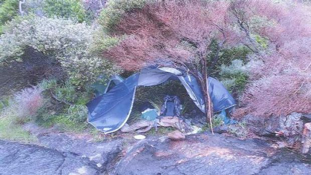 Campers noticed a tent and personal belongings nearby, but no one returned to the tent during their two-night stay.