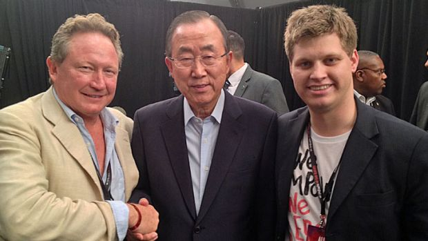 Mining kingpin and philanthropist Andrew Forrest, UN secretary general Ban Ki Moon and Michael Sheldrick.