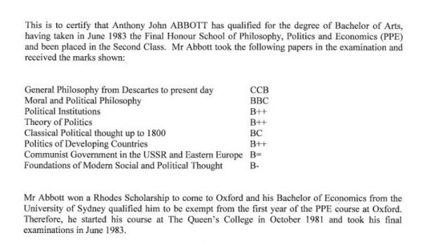 Tony Abbott's academic transcript from The Queen's College, Oxford.
