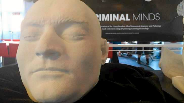 Researchers have printed a 3D replica of Ned Kelly's head, on show at the University of Melbourne 3D showcase earlier ...