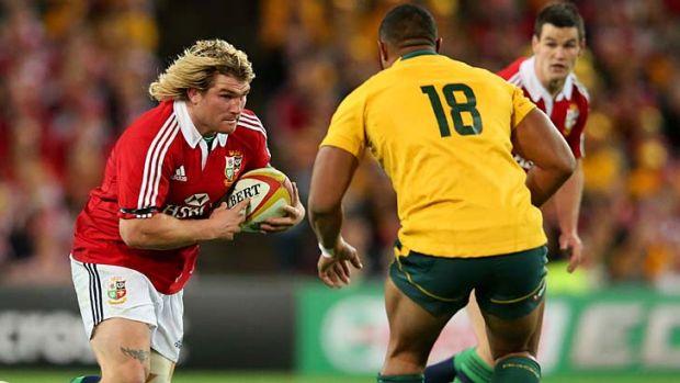 Richard Hibbard on the charge during the Lions' series deciding victory against the Wallabies in Sydney.