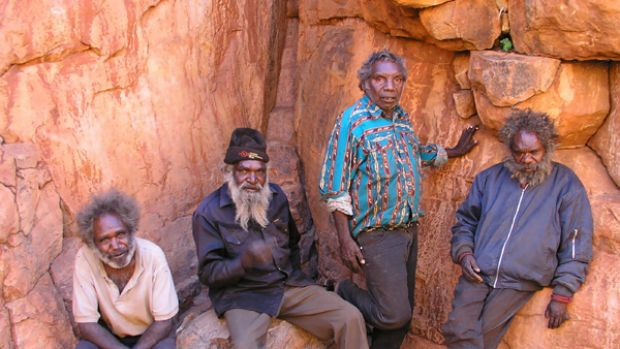 Heritage: Birriliburu custodians at a waterhole near the Canning Stock Route.
