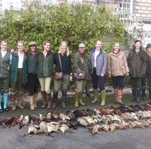 Pippa Middleton (third from left) and friends with their haul of game birds at the Drum Estate in Gilmerton, near Edinburgh.