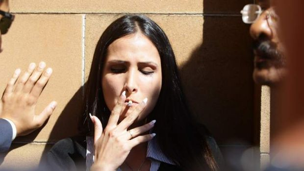 After the verdict: Simon Gittany's girlfriend, Rachelle Louise, at the NSW Supreme Court.