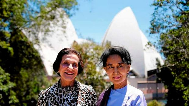 Myanmar's opposition leader Aung San Suu Kyi (R) stands with Marie Bashir, Governor of New South Wales, in front of the ...