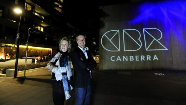 Michelle Melbourne, chair of the Canberra Business Council and Terry Shaw, managing director at Englobo group, next to ...