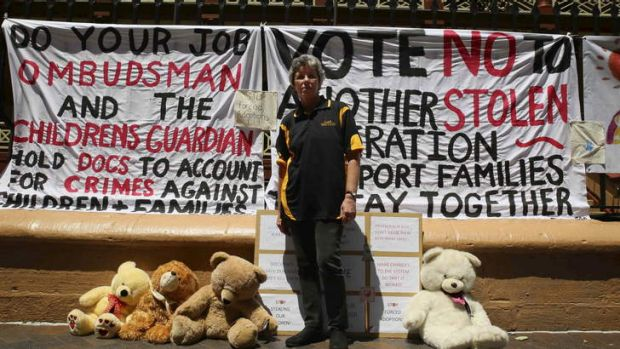 Alarmed: The Support Group for Children and Parents protest outside Parliament.