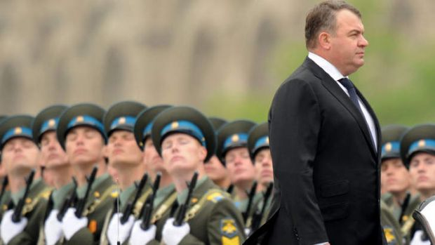 Anatoly Serdyukov, then Russia's Defence Minister, reviewing the troops during a Victory Day parade at the Red Square in ...