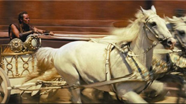 Charlton Heston in the famous chariot race from the 1959 <i>Ben-Hur</i>.