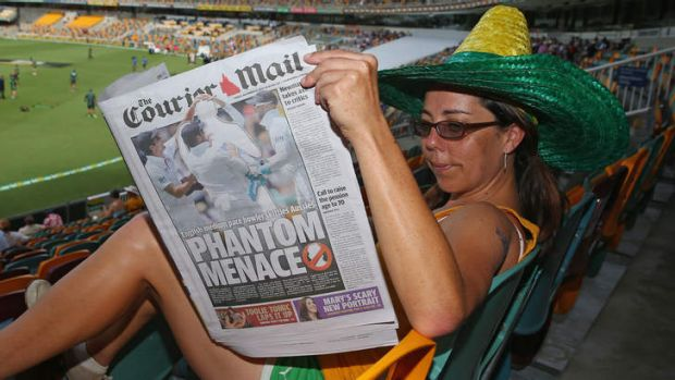 Anonymity: Despite Stuart Broad's superb first Test, The Courier-Mail refused to recognise his efforts.