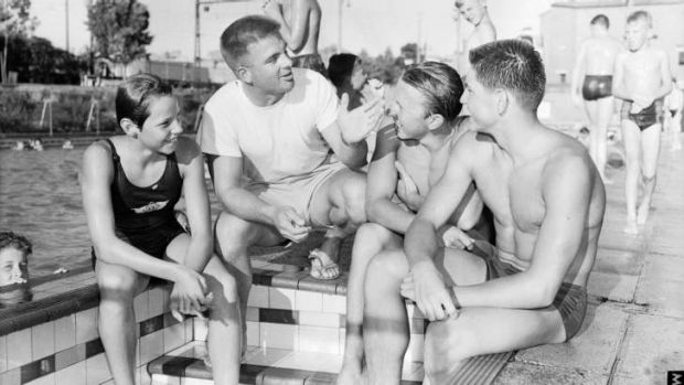 Mentor: Don Talbot at Bankstown Pool coaches Ilsa Konrads, Alan Kable and John Konrads in December 1957.