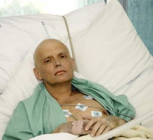 Alexander Litvinenko in his hospital bed after being poisoned.