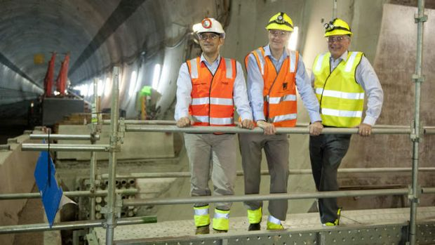 Brisbane Lord Mayor Graham Quirk, project director at Transcity Joint Venture Fernando Fajardo and Deputy Prime Minister ...