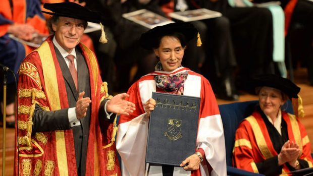 Myanmar's democracy leader Aung San Suu Kyi receives an honorary Doctor of Laws from Monash University chancellor Alan ...
