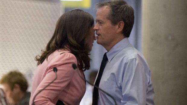 Federal opposition leader Bill Shorten is welcomed on stage by Annastacia Palaszczuk to speak to an audience at the ...