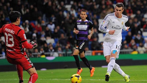 Gareth Bale scores his third goal for Real Madrid.