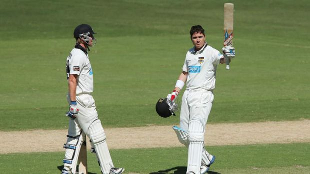 Marcus North celebrates a century against the Redbacks earlier this month.