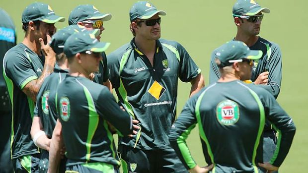 Australian cricketers gather for nets at the Adelaide Oval on Monday.