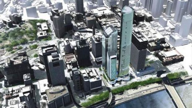 A bird's eye view of the city with the new development.