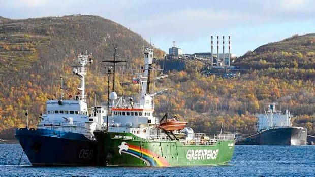 The Greenpeace ship Arctic Sunrise anchored outside the Arctic port city of Murmansk.