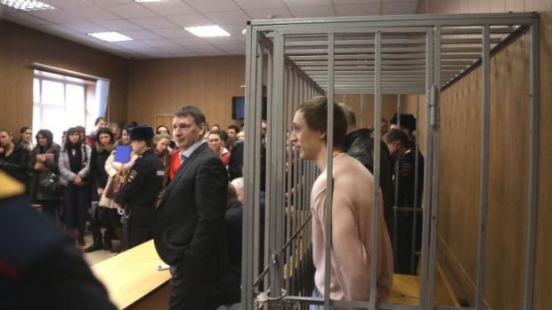 Guilty: Soloist Pavel Dmitrichenko faces his accusers in court.