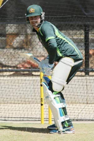Michael Clarke in the nets on Monday.