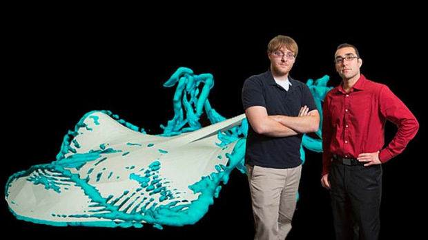 Richard Bottom, left, and Iman Borazjani hope their research on how stingrays swim will lead to the design of new ...