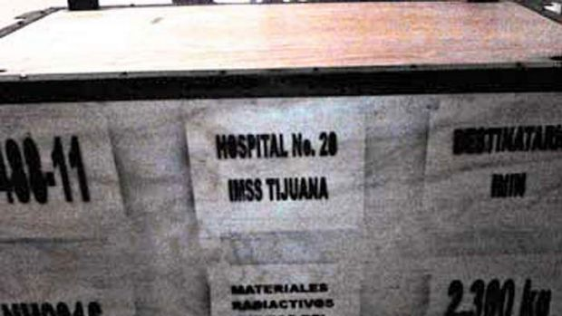 An image provided by Mexico's CNSNS safety authority of a container carrying medical equipment with a radioactive ...