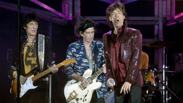 Eight years in the making: Ronnie Wood, Keith Richards and Mick Jagger during their most recent Sydney show in 2006.