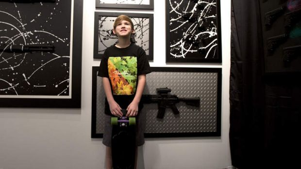 Eleven-year-old US schoolboy Charles Gitnick creates artworks depicting firearms in protest against gun violence.