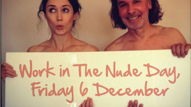 Flying Solo editor Jodie McLeod and director Robert Gerrish celebrate Work in the Nude day