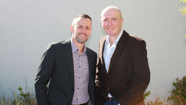 West Australian politician Stephen Dawson (right) and partner Dennis Liddelow made history by marrying in Canberra ...