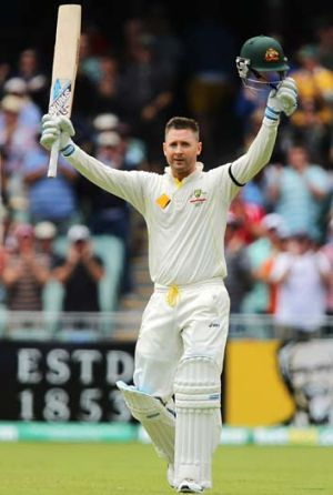 Timely knock ... Michael Clarke after scoring a century.