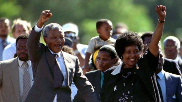 Nelson Mandela with his then-wife Winnie, moments after his release from prison on February 11, 1990. Photo by Ulli ...