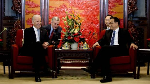 Difference of opinion: Chinese Premier Li Keqiang with US Vice-President Joe Biden in Beijing this week.