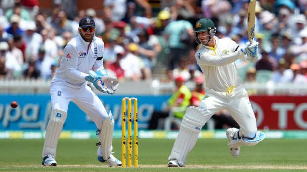 In charge: Michael Clarke on his way to a century at the Adelaide Oval.