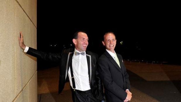 First up: Joel Player and Alan Wright who were due to marry in Canberra at 12.01am on Saturday.